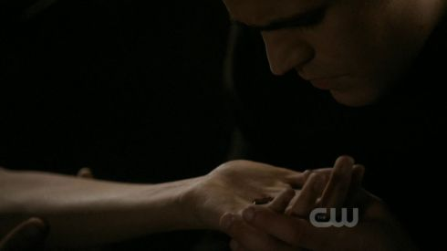 Stefan takes sip of Elena