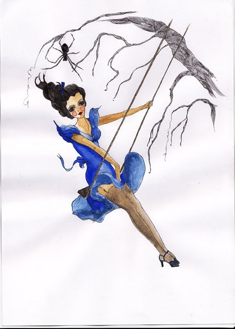 """Swinging Girl with Spider"" by Joelie Croser"