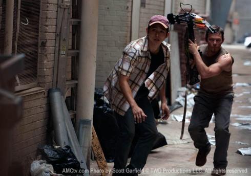 Glenn and crossbow toting Darryl